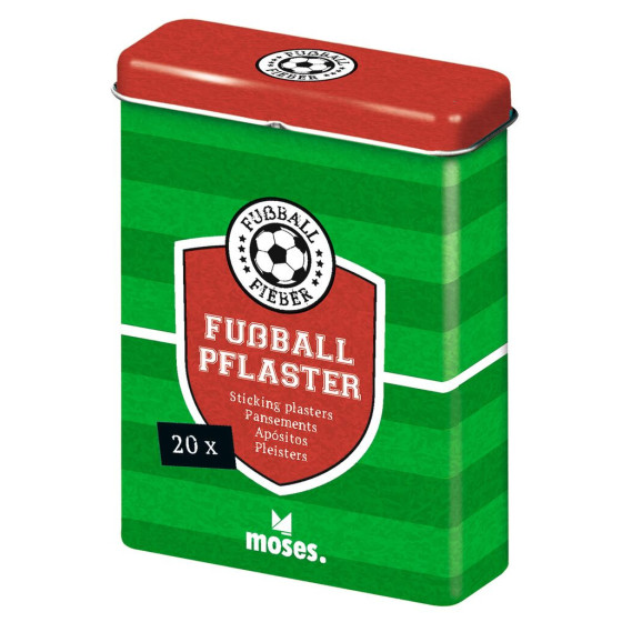 Fussball, 20 Pflaster mit Muster in der Metall Box